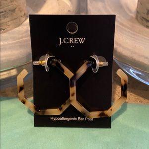 J. Crew Tortoise hoop hexagon earrings.
